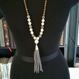 Jewelry - Long Wood Beaded Leather Tassel Boho Necklace